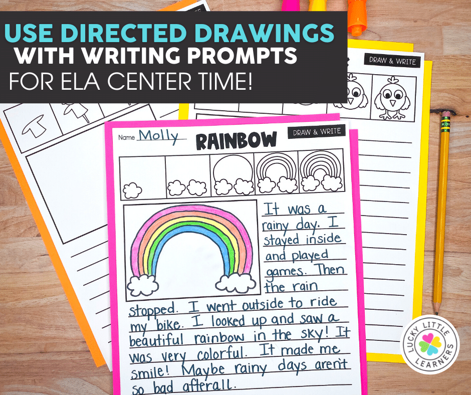 directed drawings with writing prompts for a literacy center activity