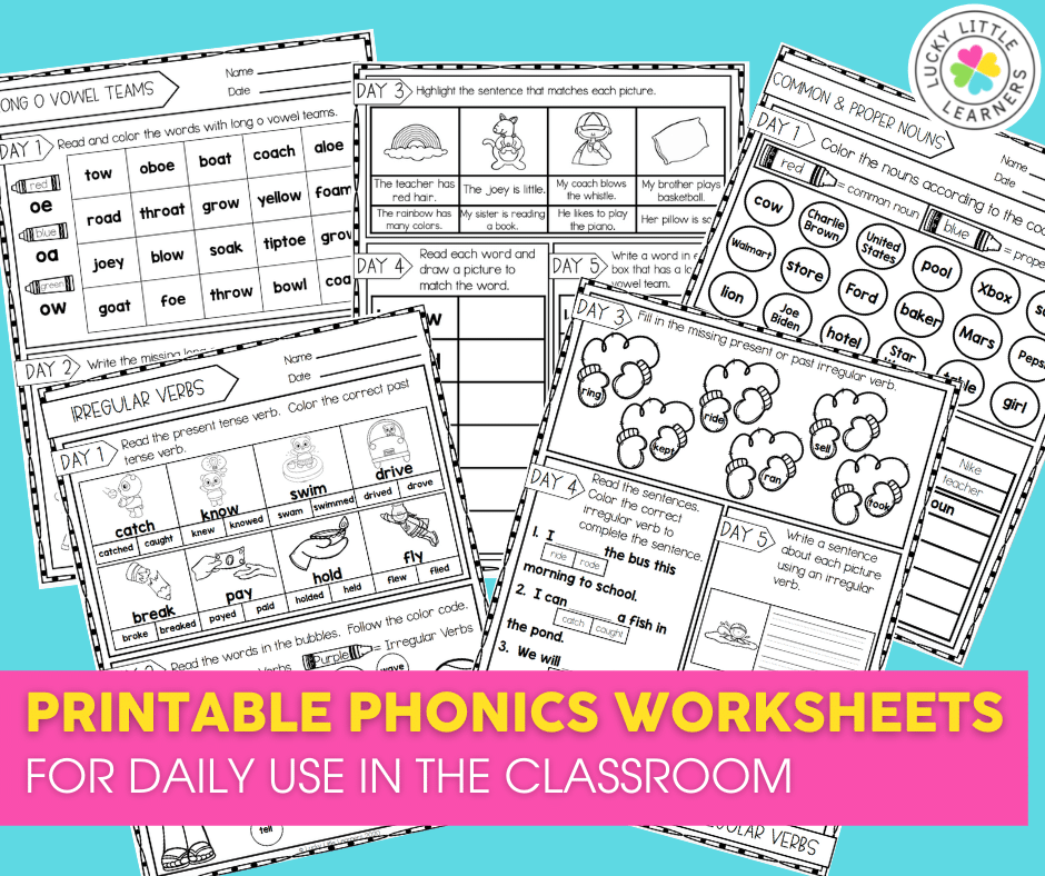 printable phonics worksheets for daily use in the 2nd grade classroom