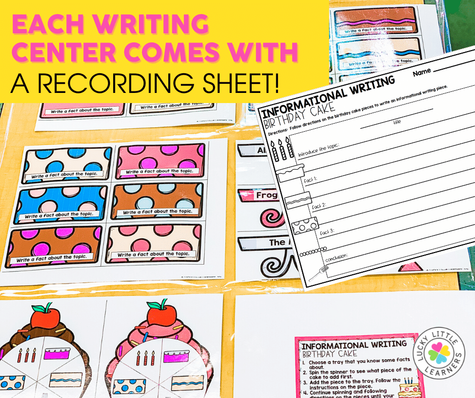 informational writing birthday cake center for 2nd grade with recording sheet