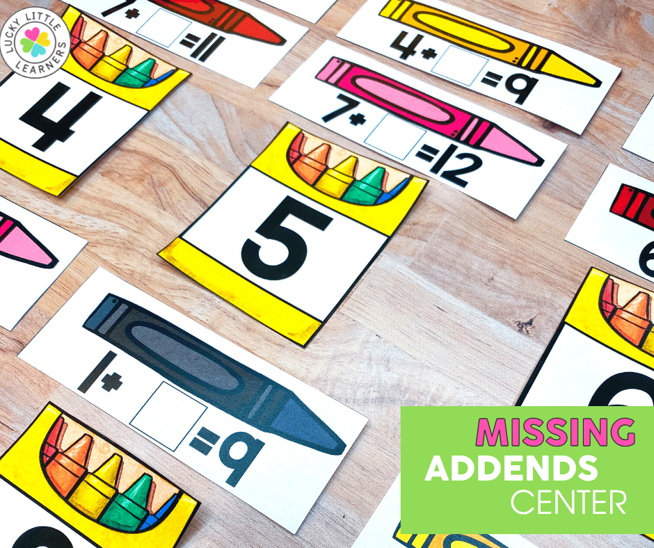 missing addends back to school math center activity