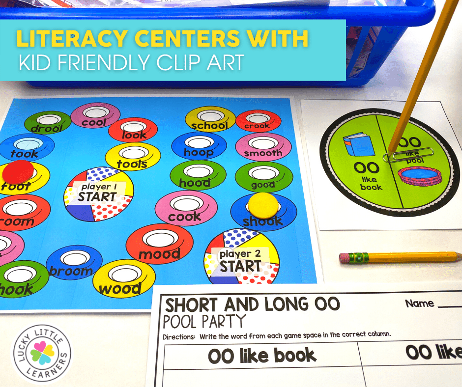 short and long oo pool party phonics center game