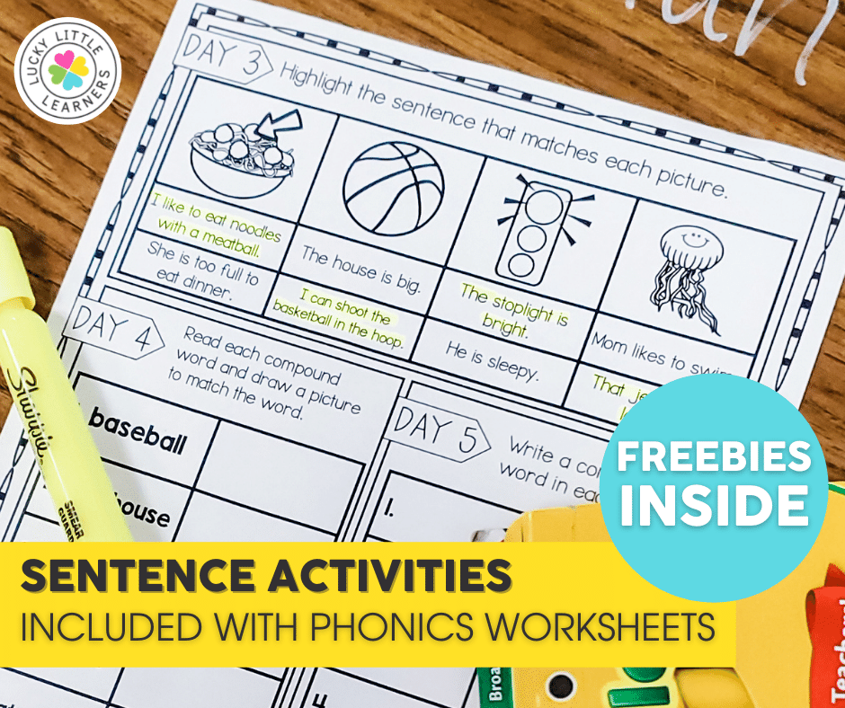 free daily phonics activities with sentences to practice skills in context
