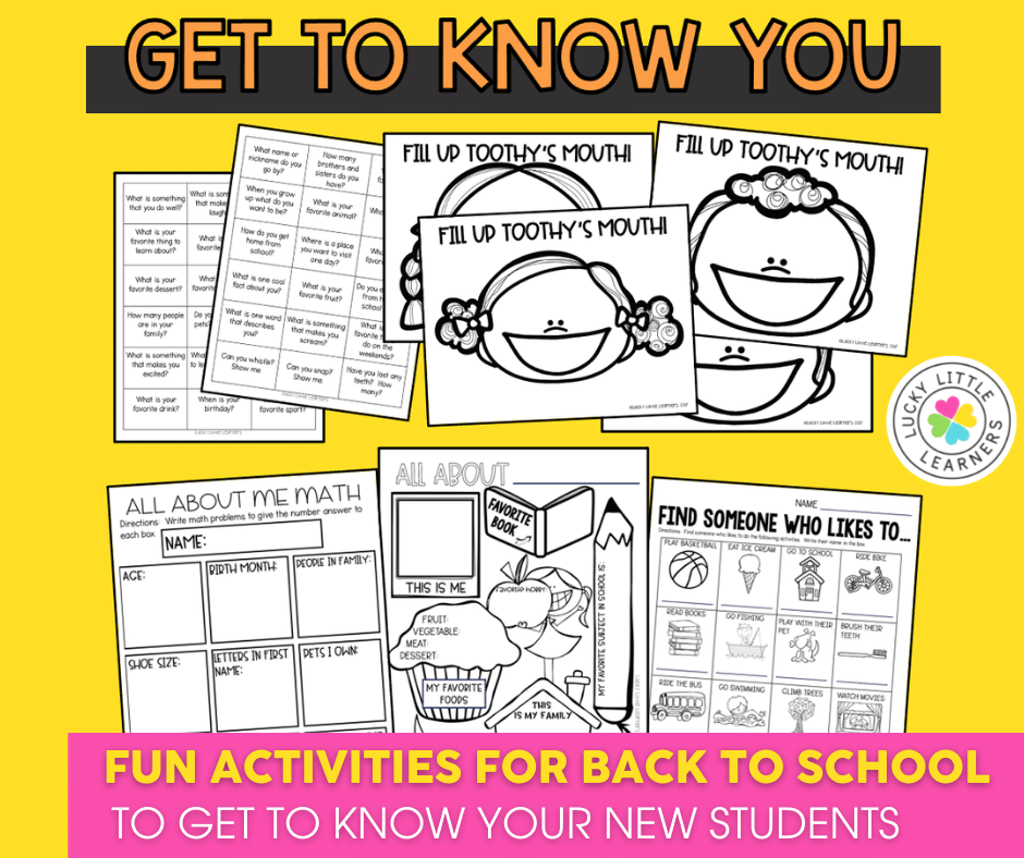 Get to Know You Activities for the First Week of School