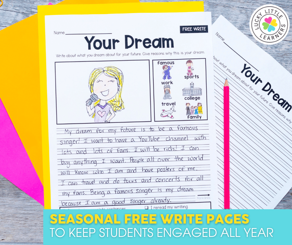 seasonal free write pages to keep students engaged all year
