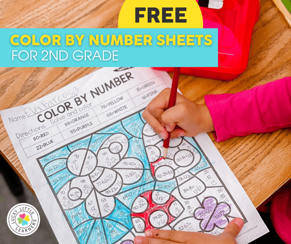 free 2nd grade color by number sheets