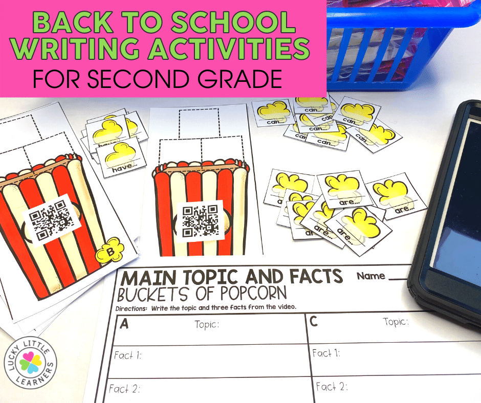 main topic and facts writing center activity for 2nd grade