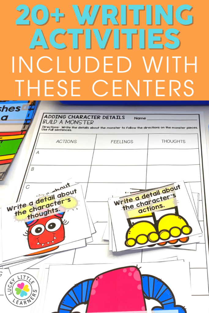 build a monster adding character details game for 2nd grade writing centers