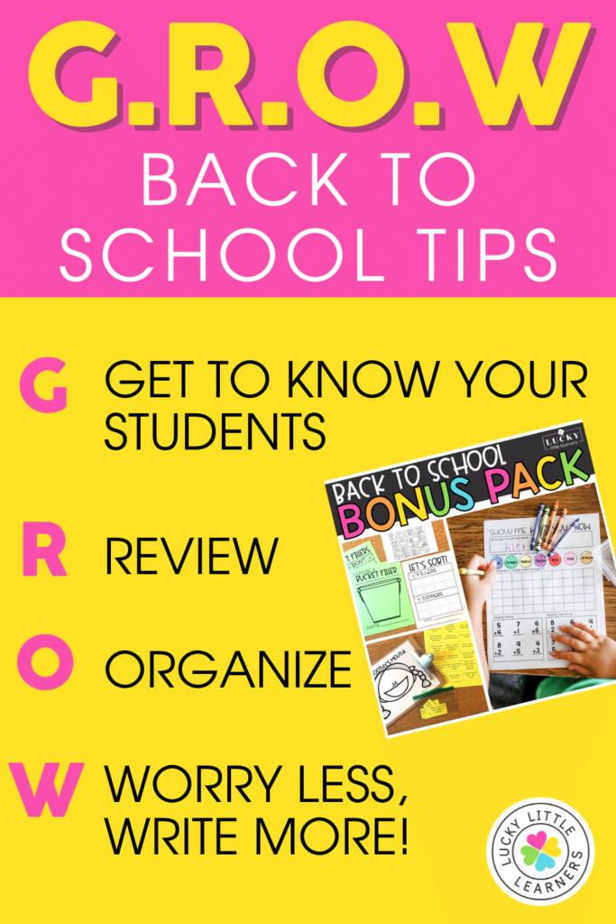 GROW Back to School Tips