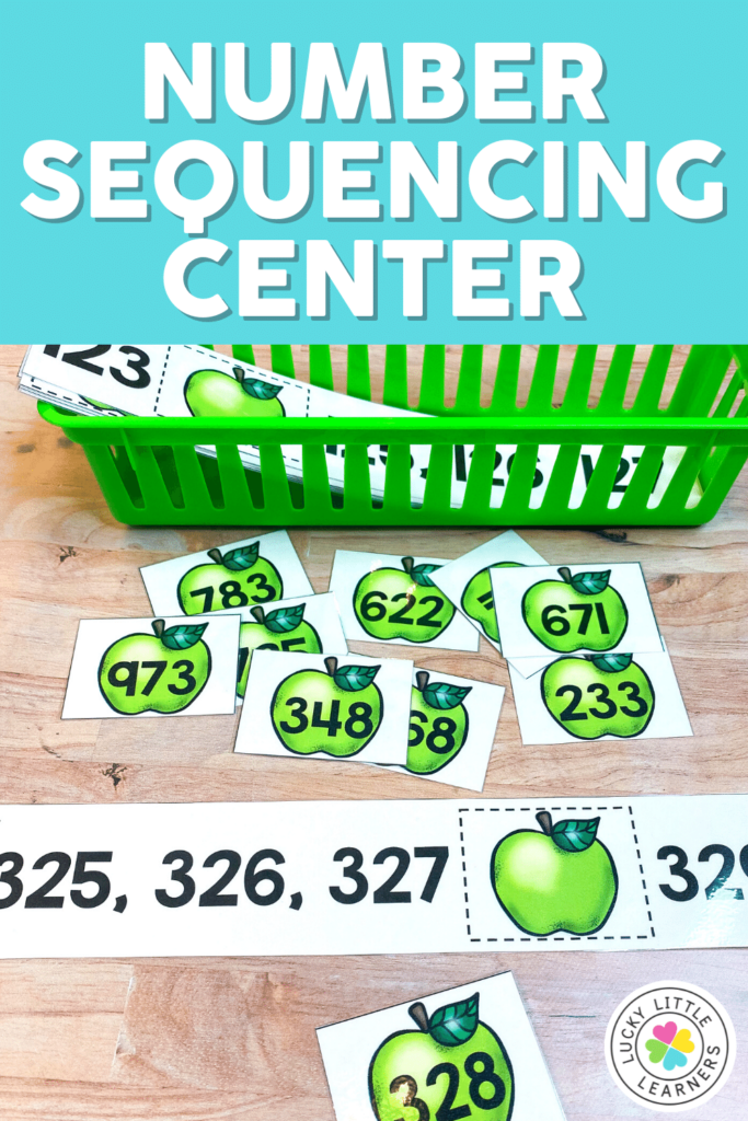 apple-themed number sequencing math center activity
