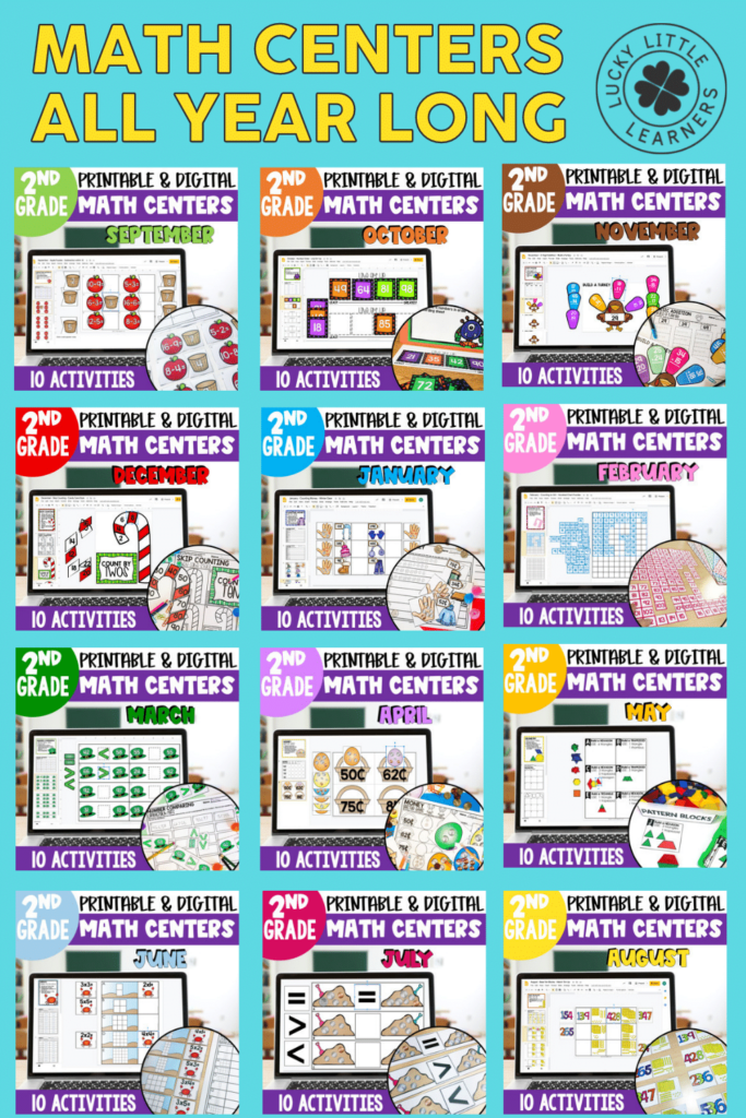 twelve monthly math center packs for 2nd grade by Lucky Little Learners