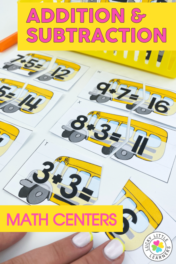 math centers for practicing addition and subtraction using school bus puzzles