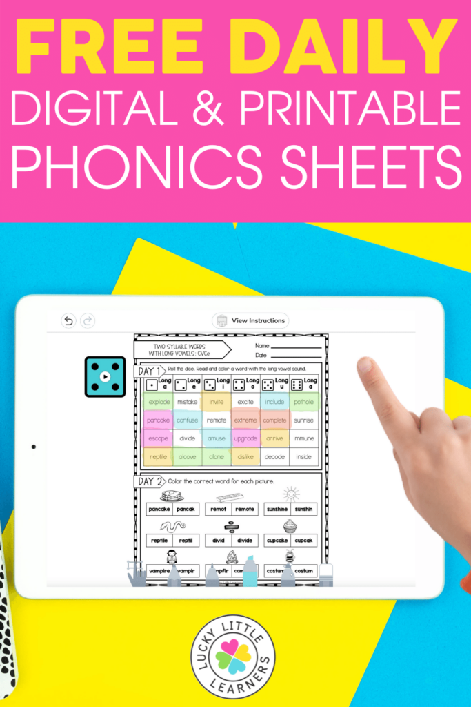 free daily phonics activities with digital and printable versions included