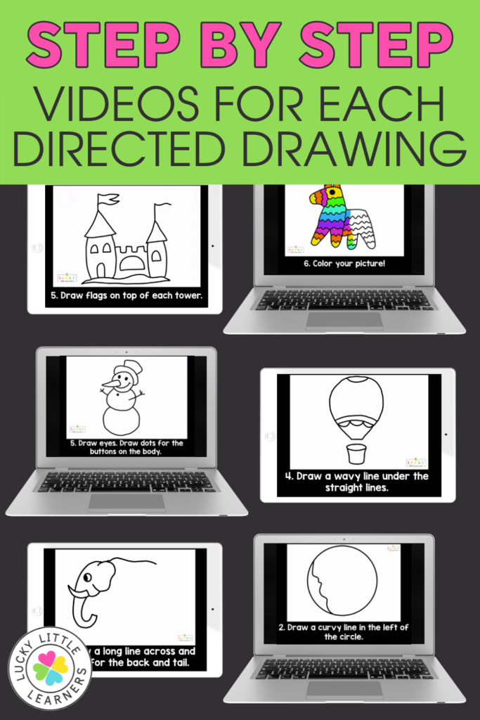 step by step videos for directed drawings