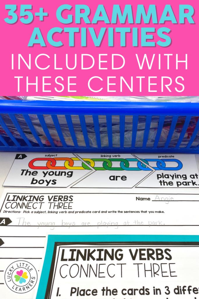 linking verbs grammar center for 2nd grade