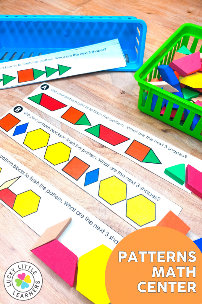 next three shapes patterning math center for 1st and 2nd grade