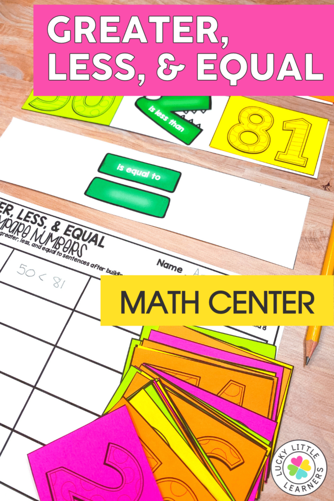students practice greater than less than and equal to with this second grade math center