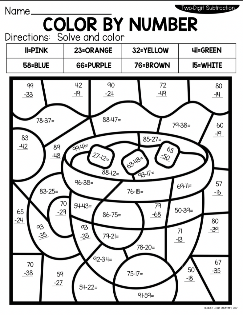 free 2nd grade color by number math sheets