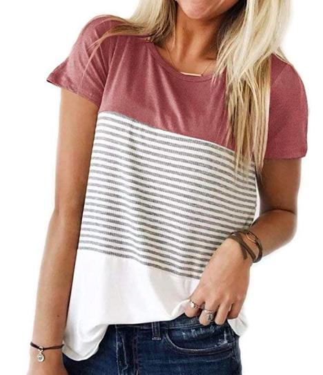 triple color block stripe t shirt