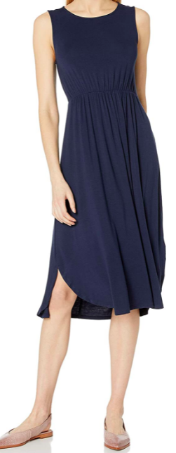 jersey sleeveless gathered dress