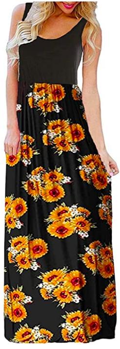 boho sleeveless long maxi dress
