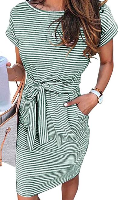 striped short sleeve t shirt dress