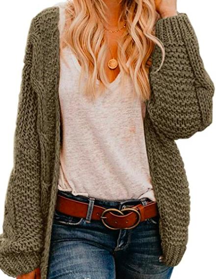 long sleeve chunky knit cardigan