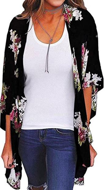printed cardigan kimono robe top