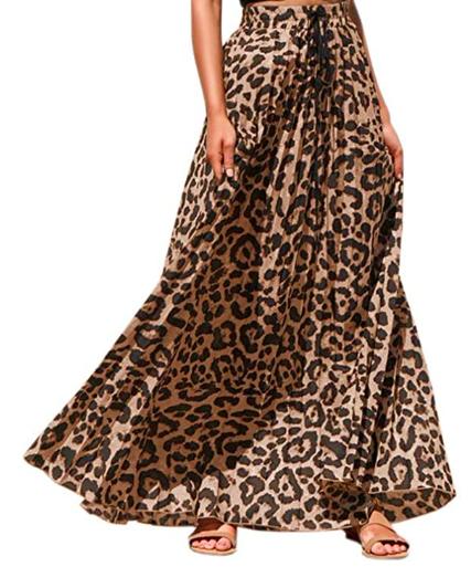 leopard print pleated high waisted skirt
