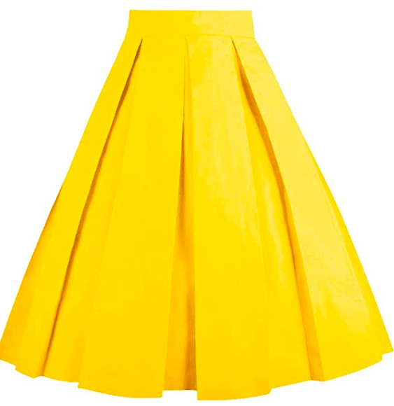 yellow midi skirt with pockets