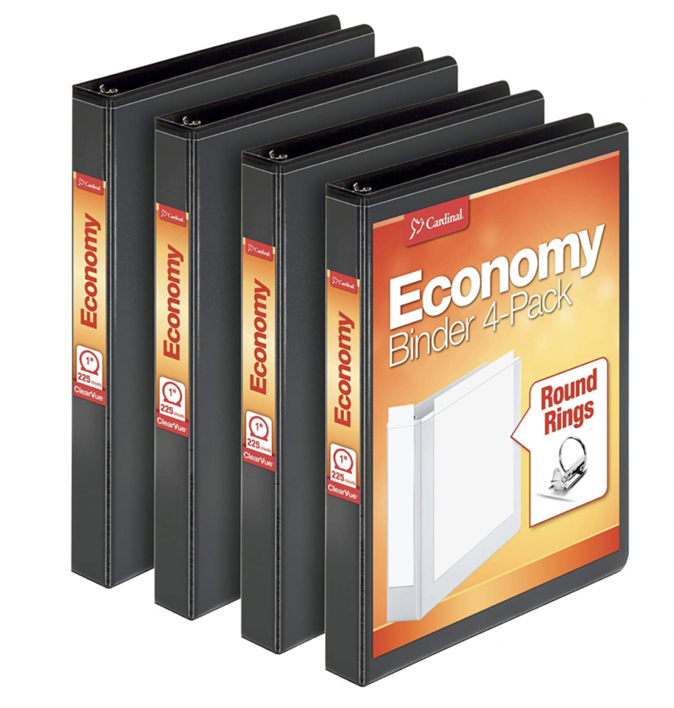 black one inch binders for organizing reading passages