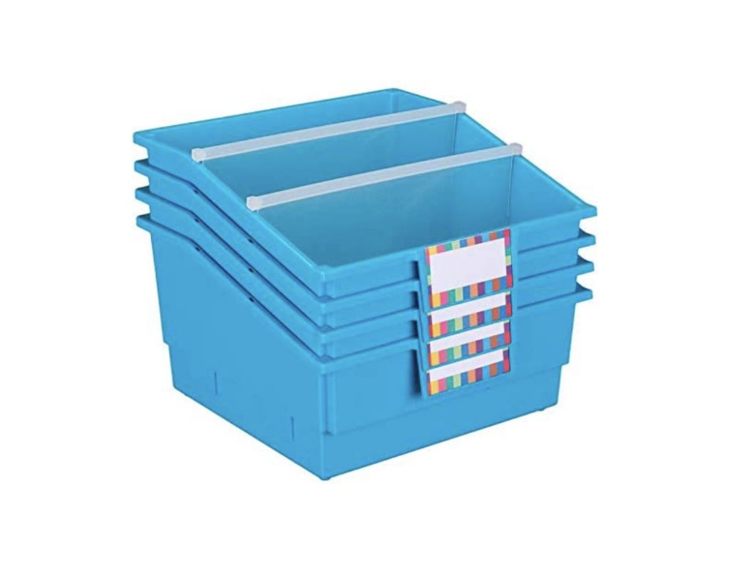 storage bins with dividers and labels