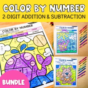 2 digit addition and subtraction color by number sheets