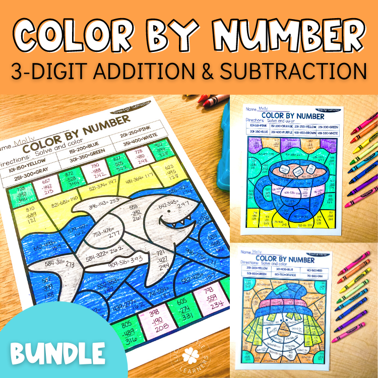 3 digit addition and subtraction color by number sheets
