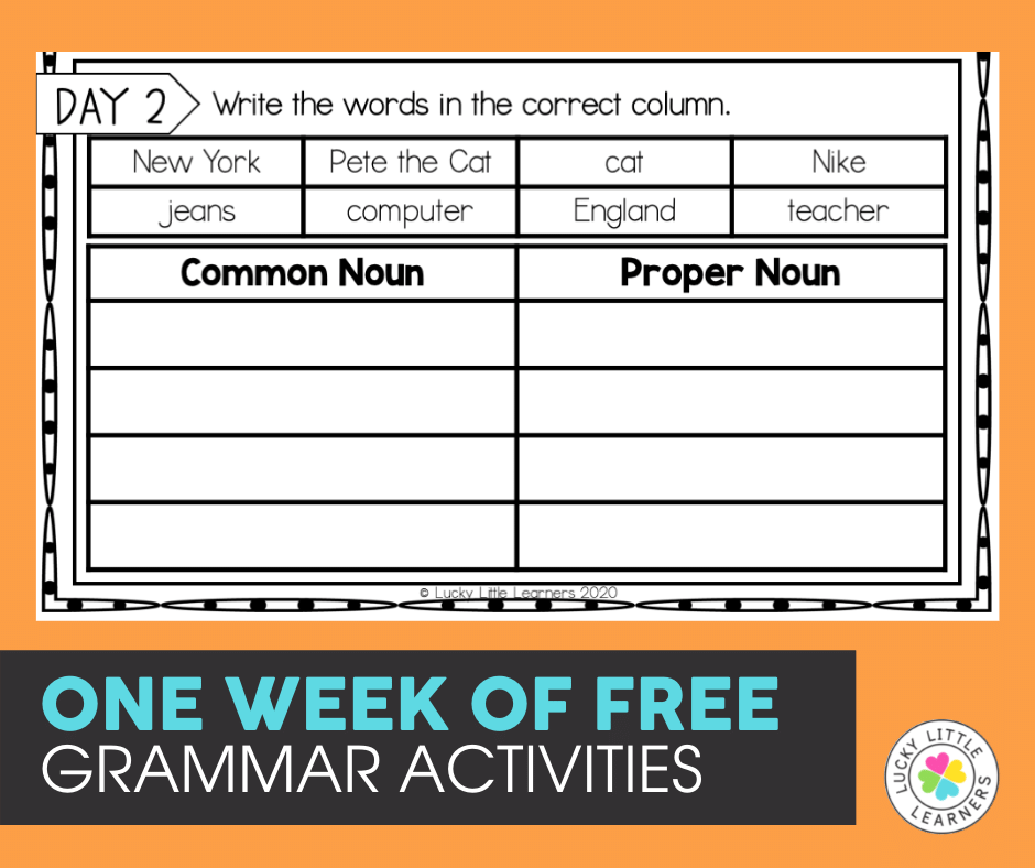 one week of free daily grammar activities