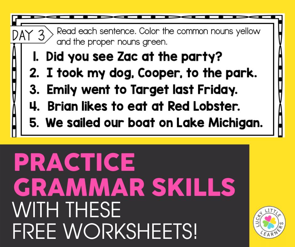 free grammar skills practice sheets