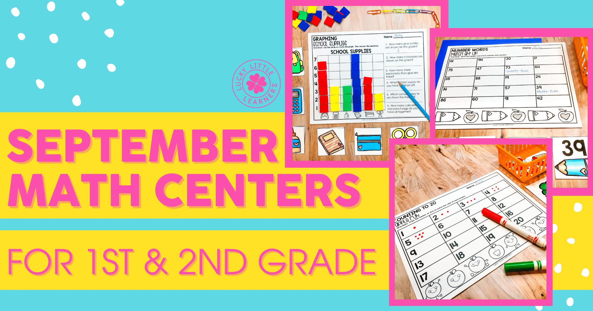 September Math Centers for 1st & 2nd Grade