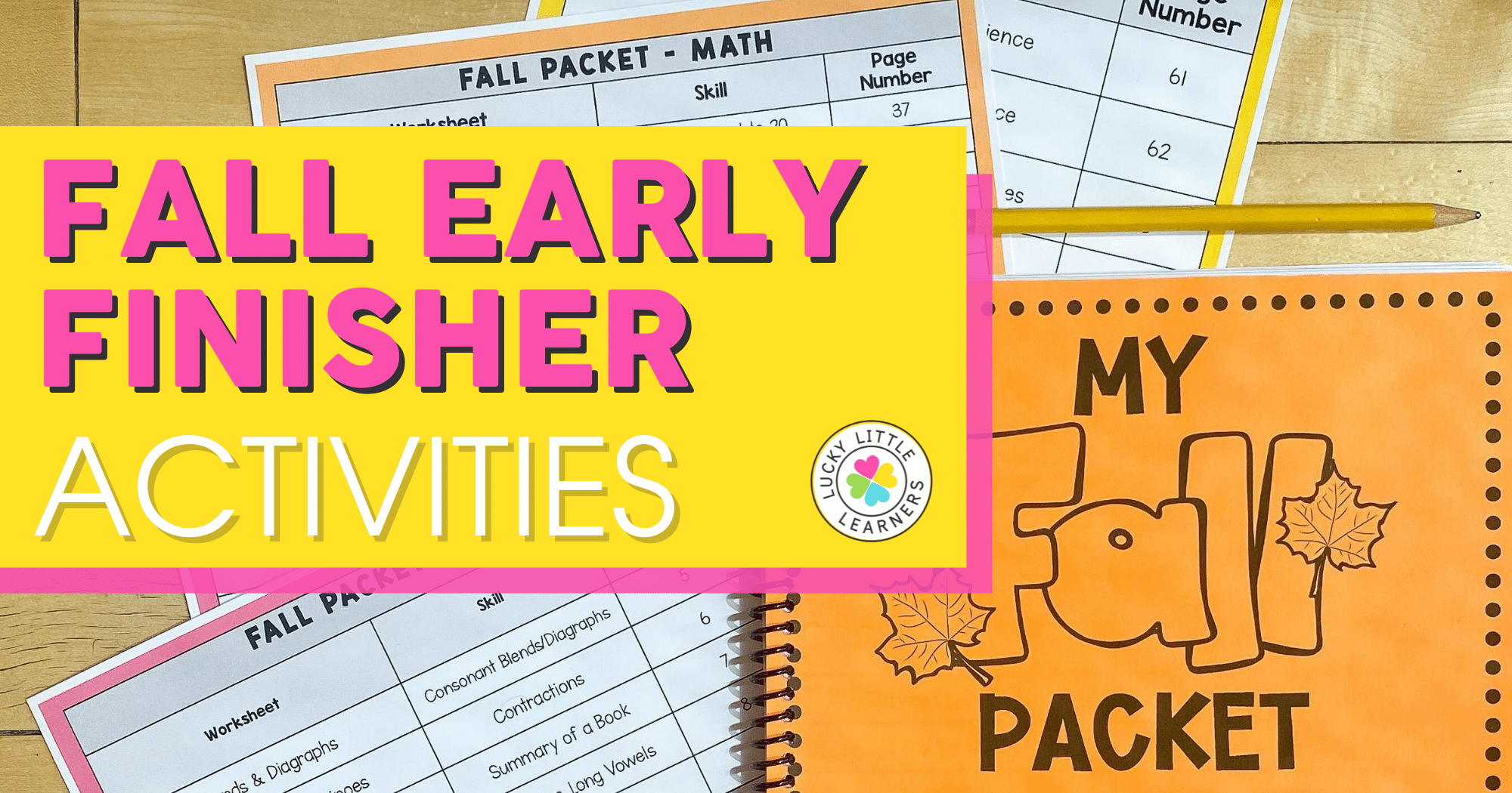 fall early finisher activities for second grade