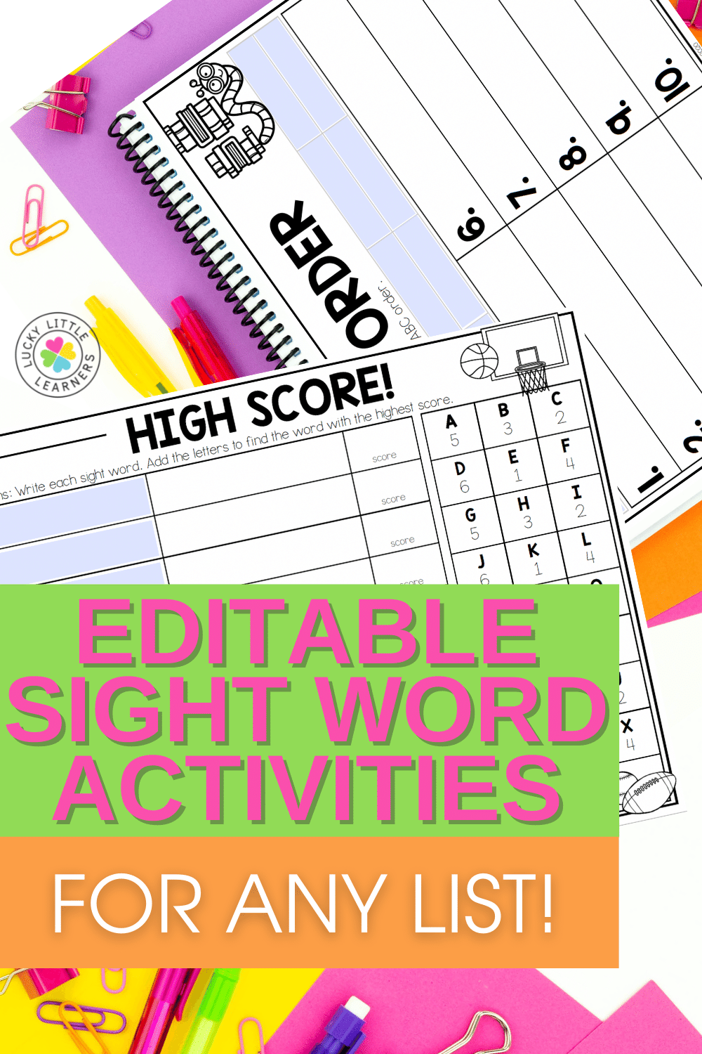 27 editable sight word activities that work with any word list