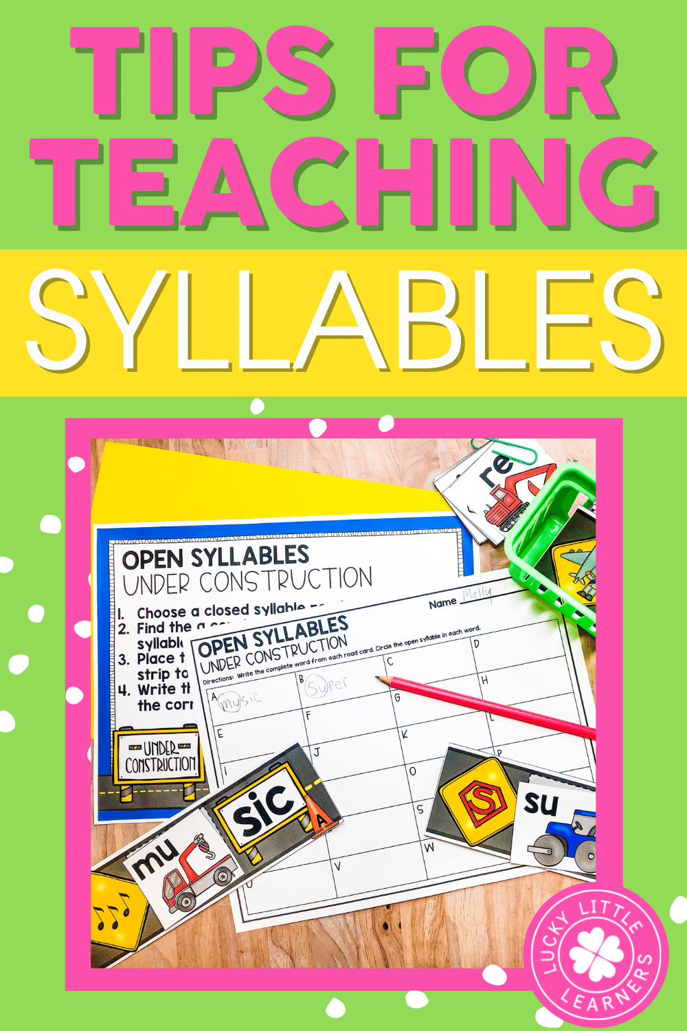 tips for teaching syllables to children in the primary grades