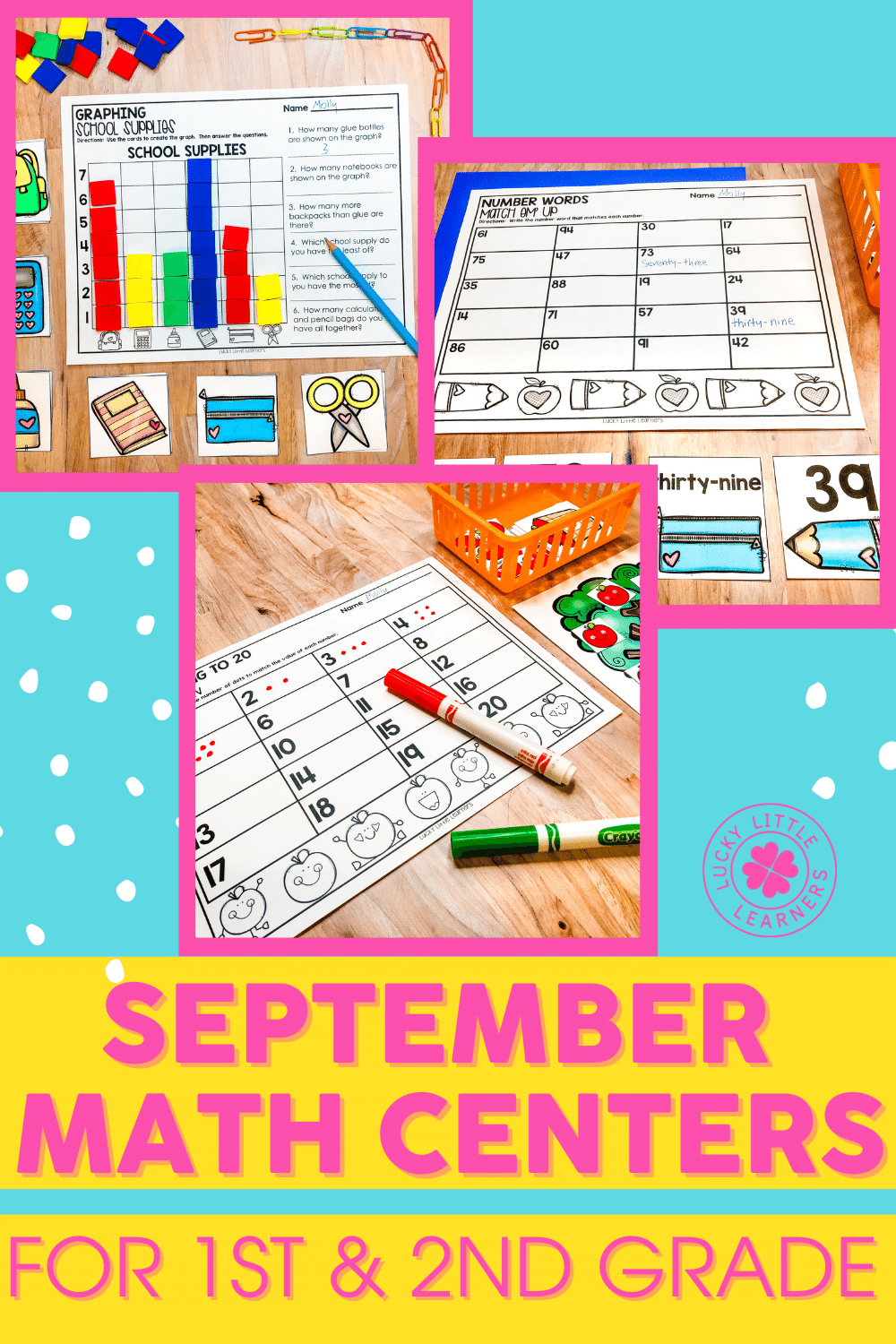 september math centers for 1st and 2nd grade