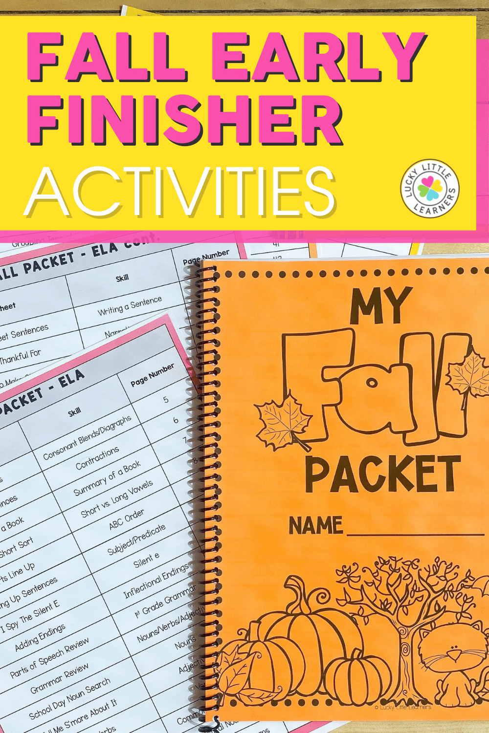 fall early finisher activities for 2nd grade