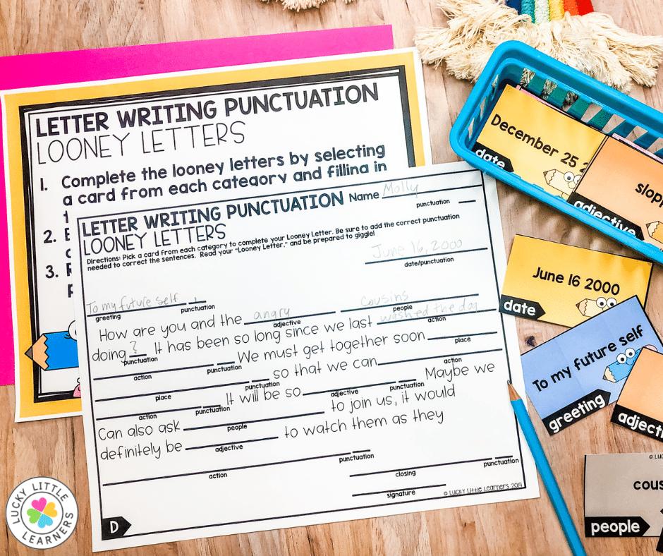 letter writing literacy center for 2nd grade