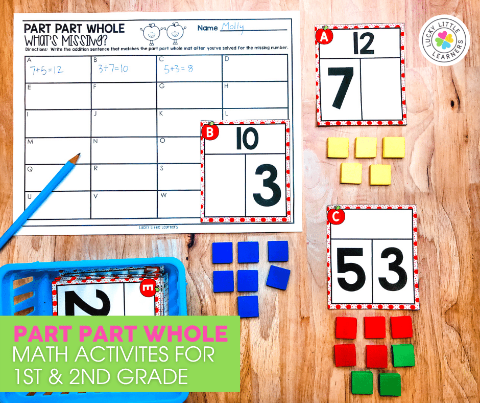 part part whole math activities for 1st and 2nd grade