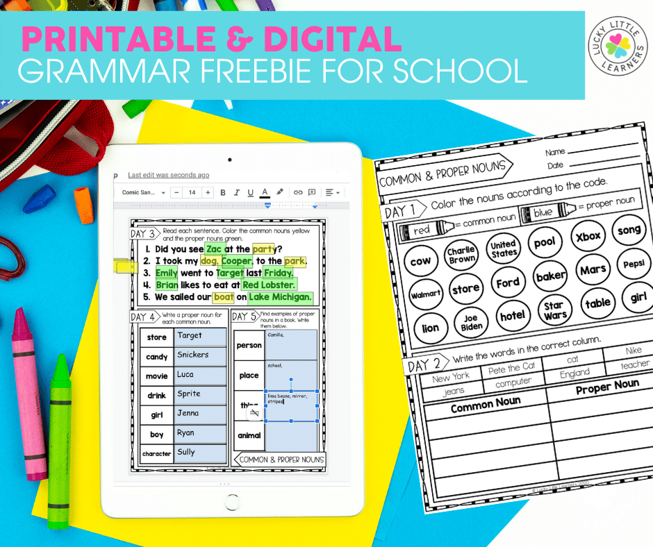 printable and digital grammar freebie for the classroom