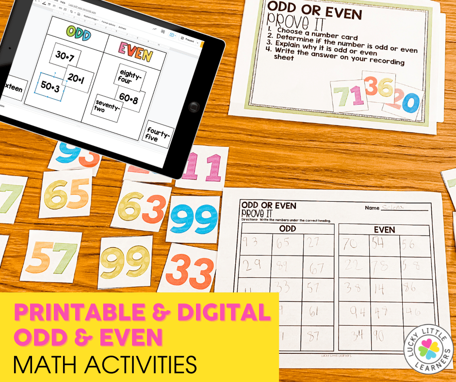 odd and even math center activities for 1st and 2nd grade