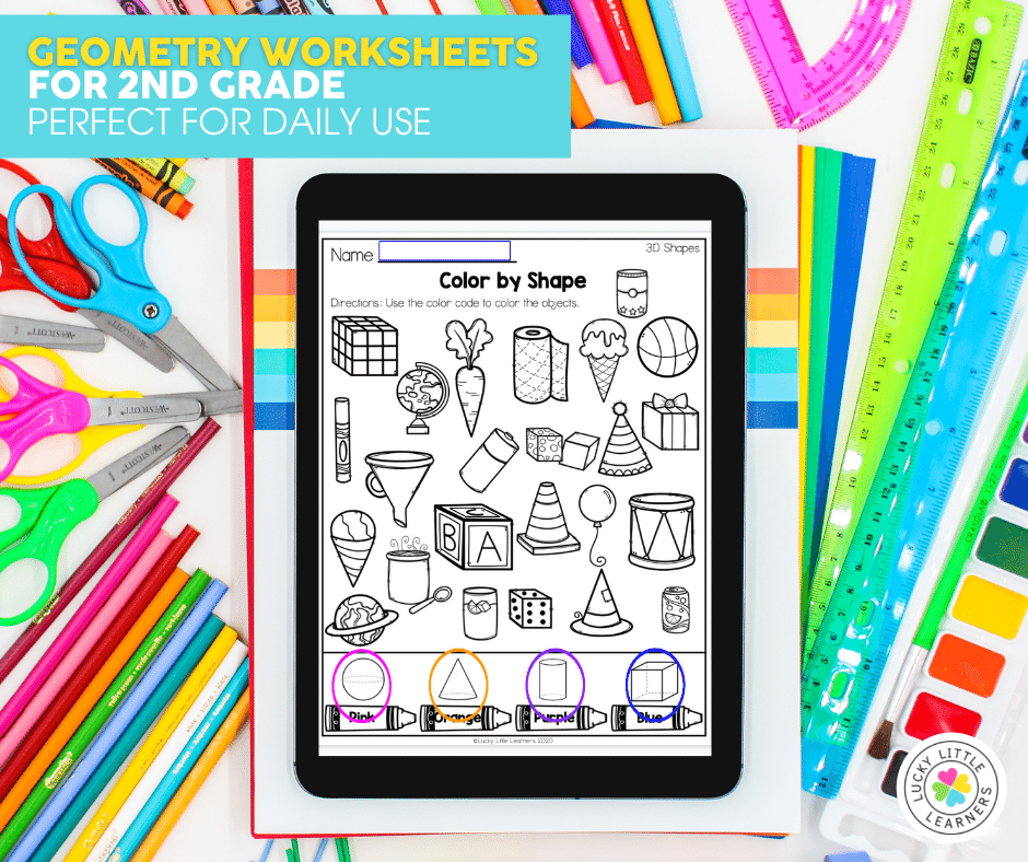 digital and printable geometry worksheets for 2nd grade