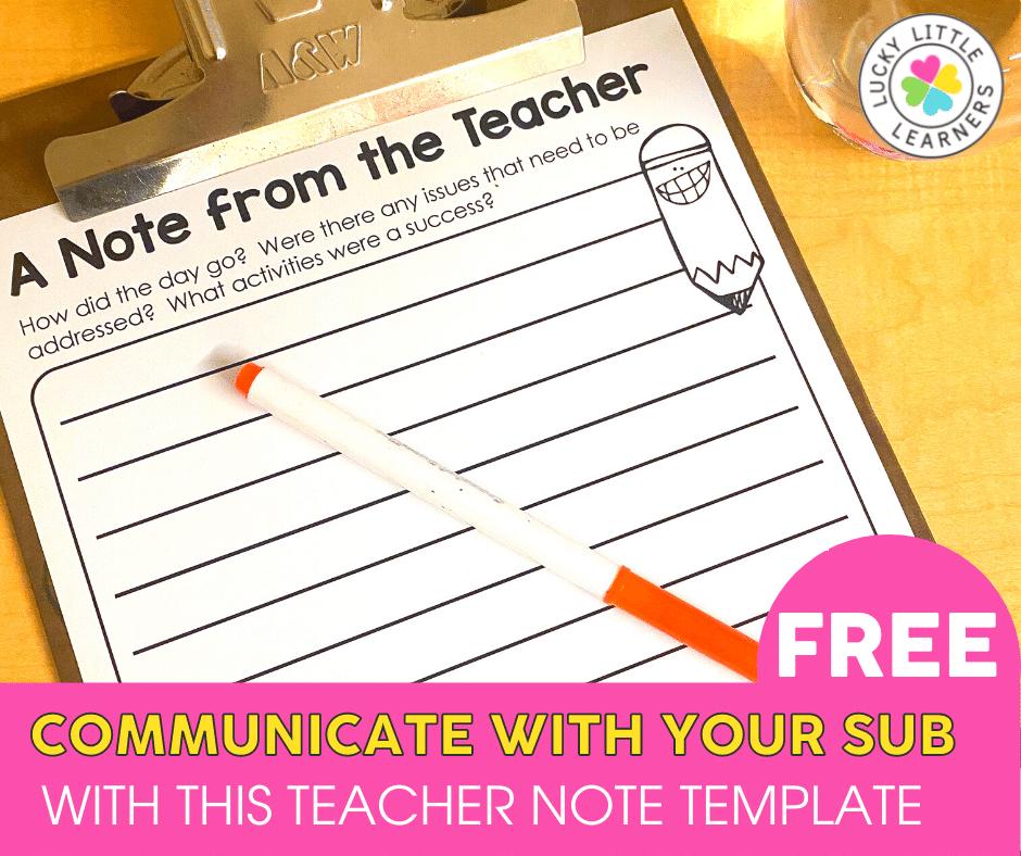 teacher note template