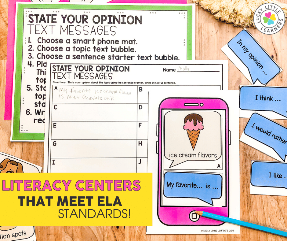 state your opinion text message writing center activity for 2nd grade