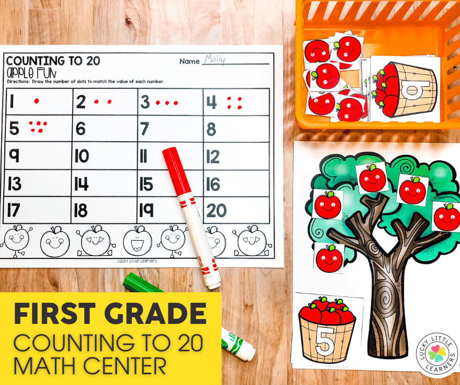 counting to twenty math center for 1st grade
