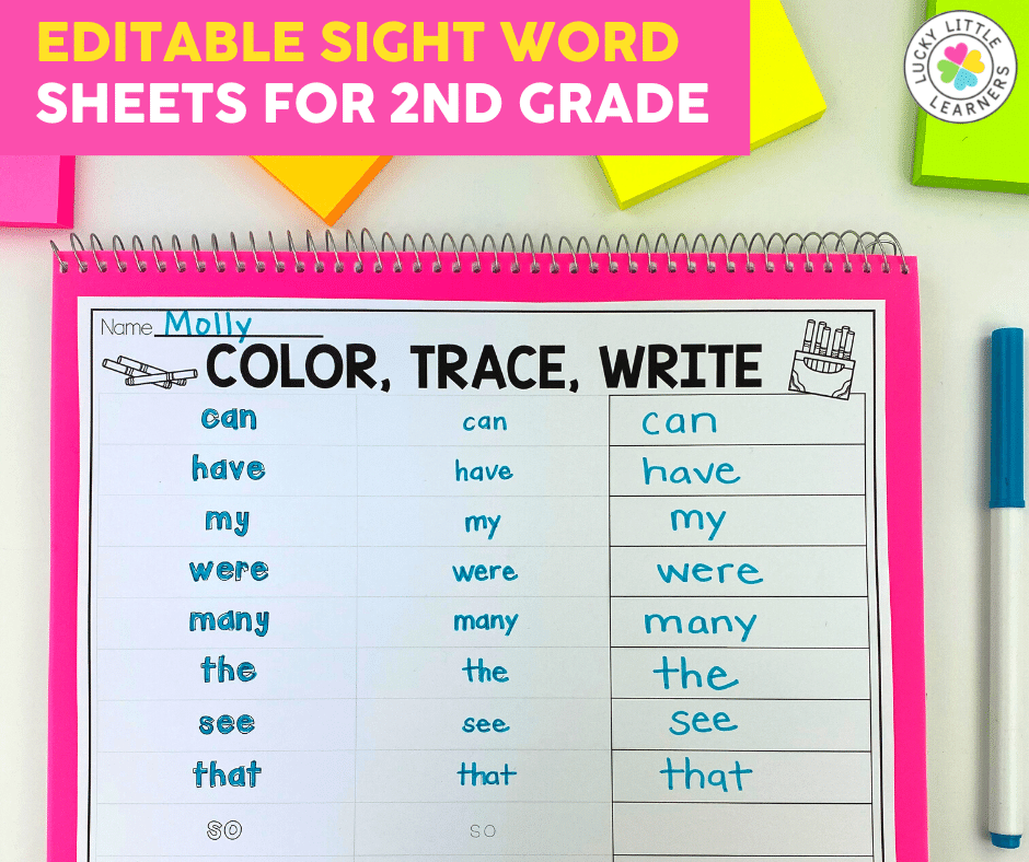 color trace write sight word activity